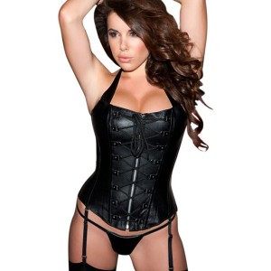 Leather Lace-Up Corset with Matching G-String from Allure