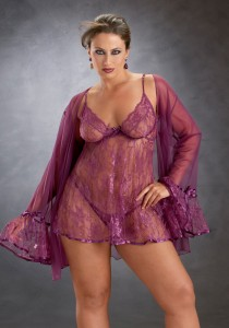 Babydoll and Coat Set with Matching Panty from Escante